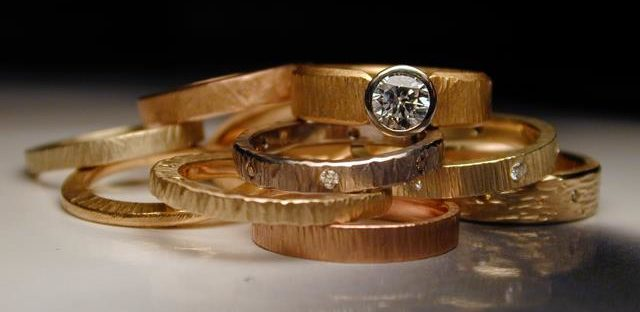 Gold rings with faceted stones, Jim Dailing, The Alchemist's Workshop, ALCH