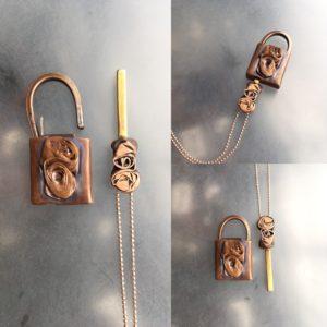 Addie Carns_Rose Locket_collage, copper, brass, metalwork, lock, key, locket, rose, Addie Carns