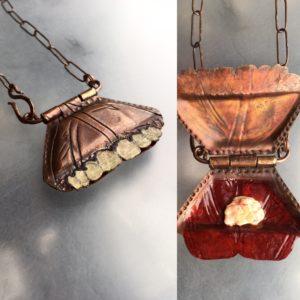 Addie Carns_collage, copper, masking tape, gum, ABC, already been chewed, locket