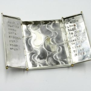 Allan Thorne_3, Allan Thorne, box, silver, metalwork, Just a Box of Rain, poetry, poem
