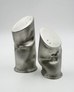 Barbara Knuth, shakers, salt and pepper shakers, dinnerware, pewter