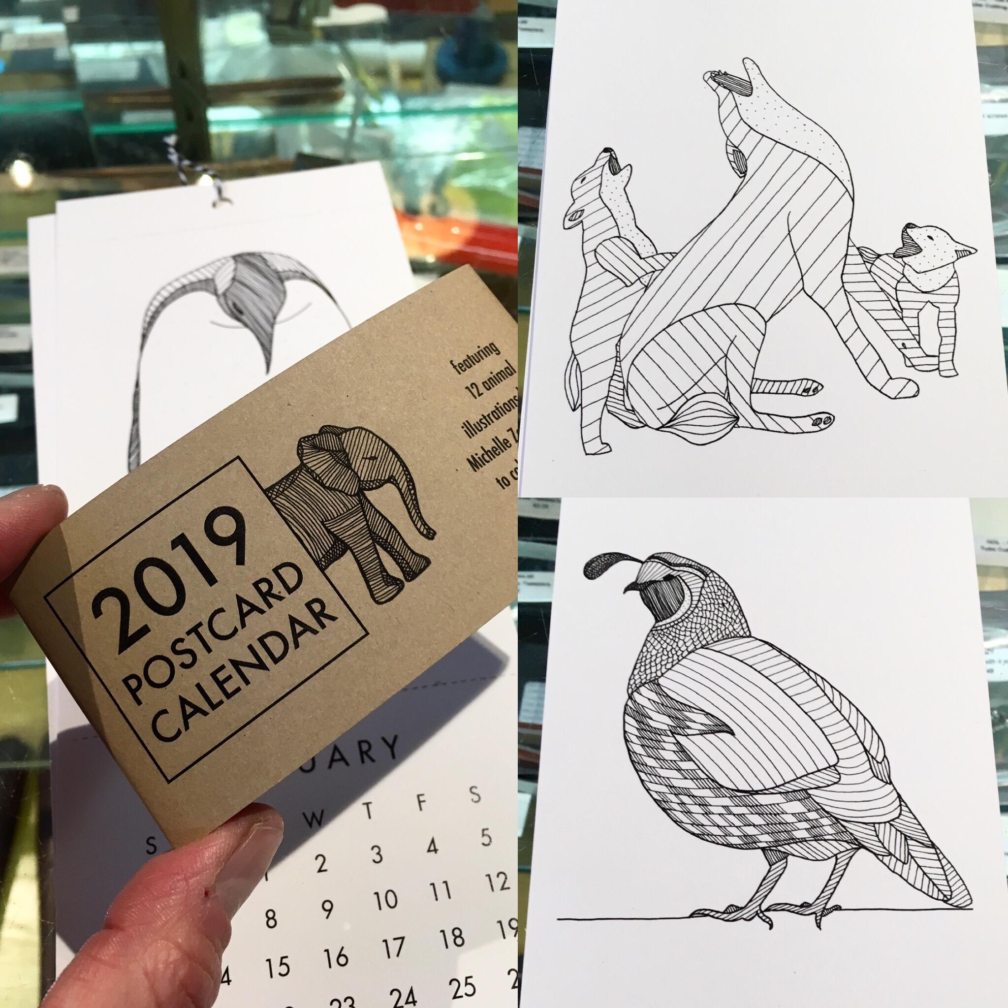 2019 Postcard Calendar by Michelle Ziedman, coloring book, postcards, calendar, animals, wild animals, hand drawn, art calendar