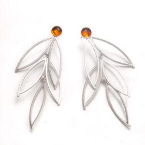 hand made earrings dana cassara silver amber