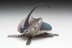 Beetle teapot, woven metal, Jeanie Pratt