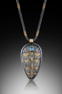 Necklace, woven metal (argentium silver, 24K gold, 22K gold, 18K gold), with topaz - Jeanie Pratt