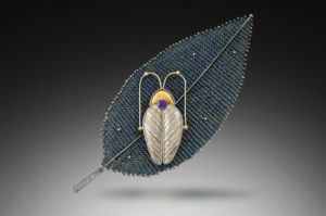 Beetle on leaf wall piece, woven metal, Jeanie Pratt