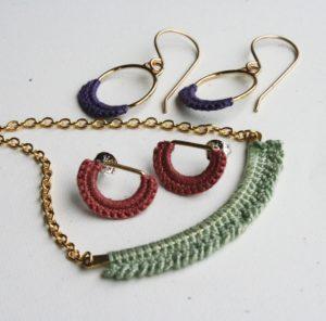 Dill set, Earrings, Necklace, Crochet, Lace, Twyla Dill, Jewelry, Jewelry smith, Jewelry making, danaca design, jewelry classes, jewelry smithing, gallery, Danaca Design Gallery, jewelry gallery