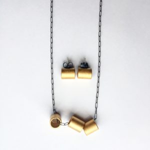 Necklace and earrings, gold plated steel, Maia Leppo
