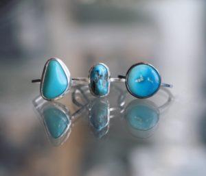 Nina Raizel Hartman - Rings, sterling with turquoise