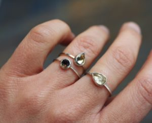 Nina Raizel Hartman - Rings, sterling with round and pear faceted stones