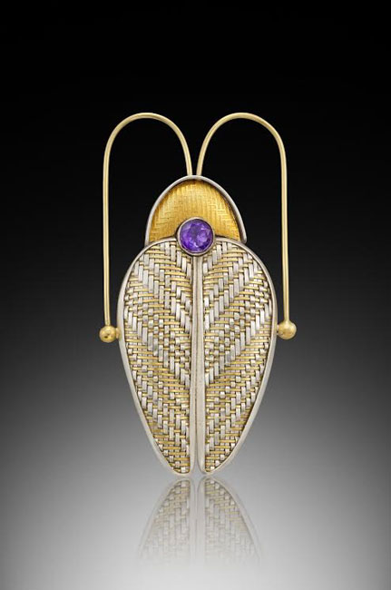 Beetle pin, woven metal, Jeanie Pratt