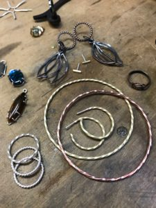 Rings, bangles, earrings made from wire