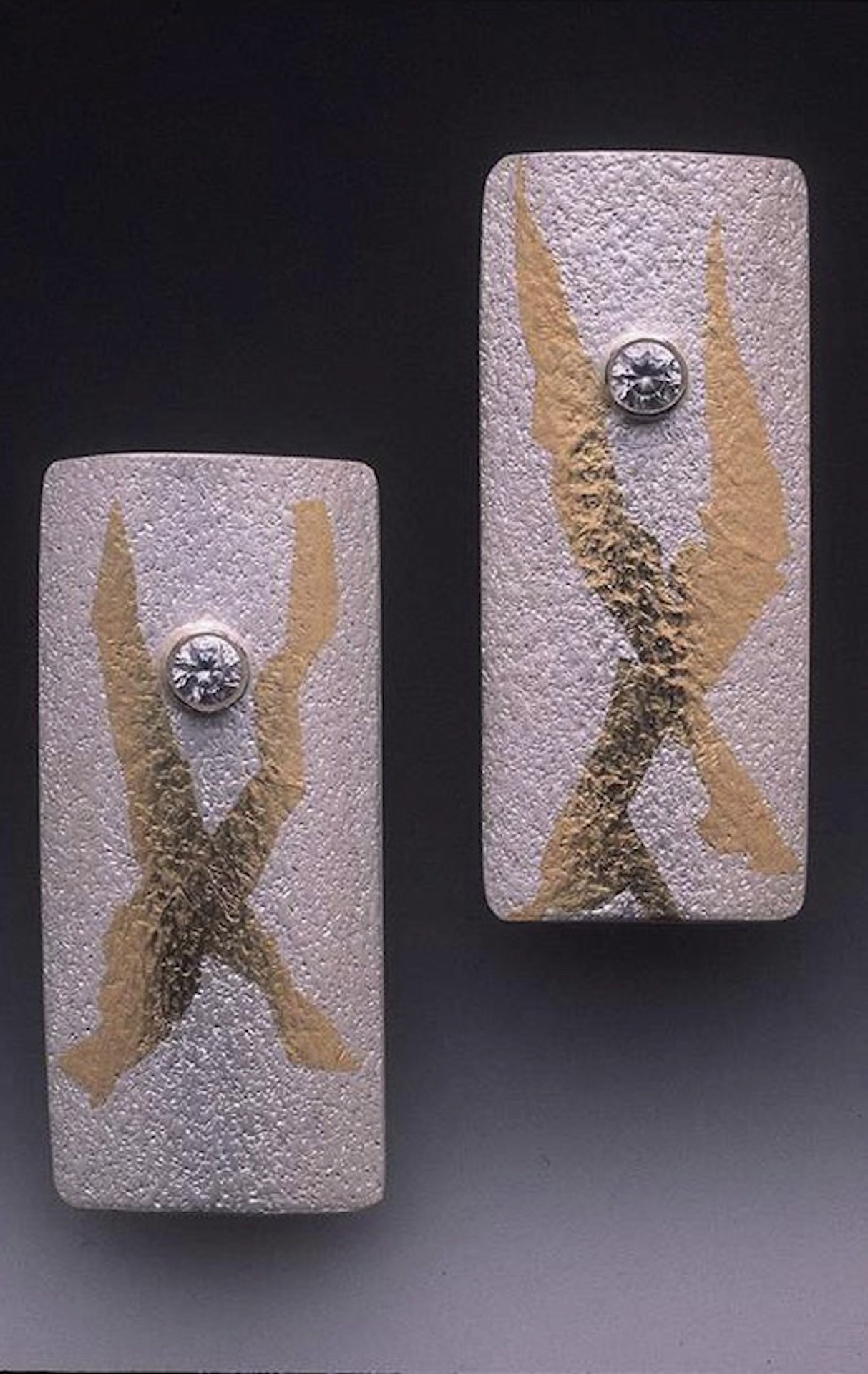 PMC and Keum-Boo earrings, Suz O'Dell, Keum-Boo: PMC Surface Treatment with Gold