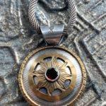 Necklace, sterling, bronze, rose cut garnet , Peggy Foy / Arcana Metalwork