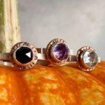 Rings, sterling, bronze, rose cut gemstones, Peggy Foy / Arcana Metalwork