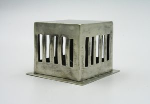 RachelDeNys box, nickle, silver, box, bars, barred, metalwork